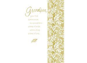 AG First Communion Card: Grandson...May God Bless You w/ a Heart Full of Faith