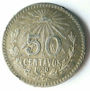 1920 MEXICO 50 CENTAVOS - AU GREAT Coin - HIGH VALUE SILVER COIN - Lot #Y4
