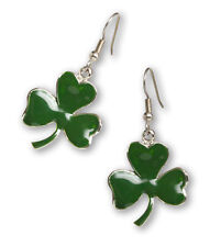 Irish Shamrock Earrings Green Enamel on Pewter Three Leaf Clover #1037