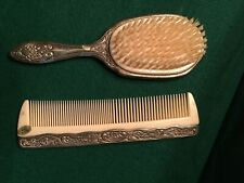 Vintage Silver Plated Ornate Vanity Set . . Brush and Comb