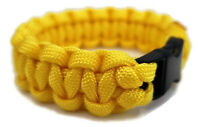 """Paracord Bracelet 550 Black Tactical 3/8"""" Buckle (Yellow) Hand Made"""