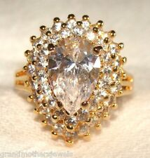 Gorgeous Vintage Lindenwold 14K Gold Plate & Ice CZ Cluster Ring SZ 9 NWT