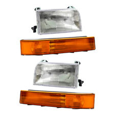 4 Pc Headlights & Park Signal Side Marker Lights for Ford F-Series Pickup Bronco