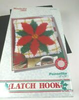 Wonder Art Poinsettia Christmas latch hook kit 12 x 12 #4632
