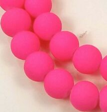 """8mm Matte Frosted Neon Rubberized Glass Round Beads  -  Hot Pink 16"""""""
