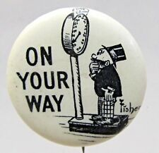 1910 Bud Fisher MUTT & JEFF On Your Way Hassan Cigarettes pinback button