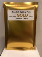 Baseball MYSTERY GOLD PACK -  10 cards - 2 Hits: 1 Auto or Relic + 1 # card