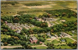 "1940s Benton Harbor, Michigan Postcard ""MARY'S CITY OF DAVID"" Aerial View Linen"