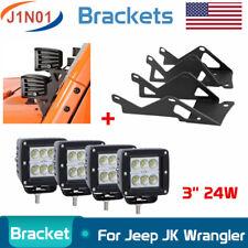 "4X 24W 3"" CREE LED Work Light Flood Cube Pods+Bracket For 07~15 Jeep Wrangler JK"