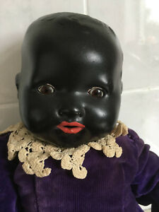 Beautiful Rare Antique Black 'Dream Baby' Composite Doll Armand Marseille 1924