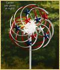 PATRIOTIC Metal DOUBLE Spiral SOLAR Garden Wind SPINNER Stake Outdoor Yard Art