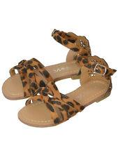 New Girls Kids Ankle Strap Flat Sandals Rhinestone Leopard Size 10