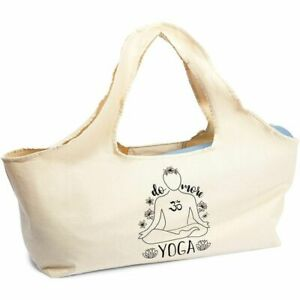 Yoga Mat Carry Bag, Cotton Tote Bag (Beige, 30 x 10 In)