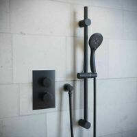 Black Round Concealed Twin Thermostatic Shower Valve & Slide Rail Kit Outlet