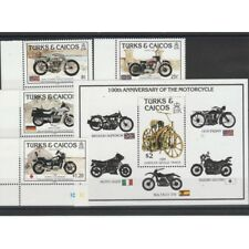 TURKS AND CAICOS 1985  MOTO 4 VAL + 1 BF  MNH  MF58286