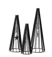 OOHH Deko Tannenbäume 3er Set  in Filz-Optik aus recyceltem Plastik, schwarz
