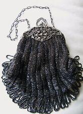 Antique Art Deco Silver Filigree Frame Black Knit Crochet Iridescent Bead Purse