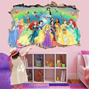 Princesses Wall Art Stickers Mural Decal Ariel Belle Jasmine Fairies Aurora QF1