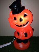 "NEW 15"" Halloween Jack-O-Lantern Pumpkin Dude Lighted Blow Mold Table/Yard Decor"