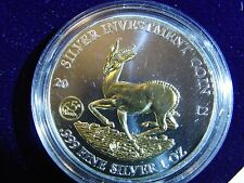 Gabun 2012 Springbock 1000F. CFA Privy 65J. Silver Investment Coin 1 Oz - Selten