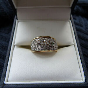 18kt Gold Womens Round Diamond Pave Band Ring 1.00 Cttw Size 0