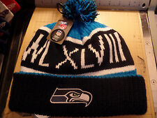 Seattle Seahawks Super Bowl 48 Calgary Pom Knit NFL Hat Cap Beanie inc Team Logo