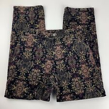 JH Collectibles Womens 12 Black Floral Pants Velvet High Rise Straight Pockets