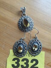 Silver jewelry earrings and pendant with yellow crystal sterling 925. item 332