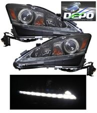 2006-2010 Lexus IS250 IS350 Halogen BLACK Projector Head Lights w/ LED DRL DEPO