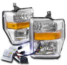 2008-2010 FORD F250 F350 F450 SUPER DUTY CHROME CRYSTAL HEADLIGHT LAMP W/10K HID