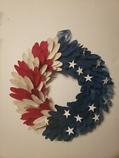 New Americana Curled Wood Wreath red white blue patriotic July 4th Usa