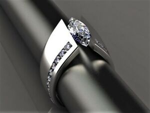 R008 Women Fashion Jewelry 18K White Gold GP Engagement Wedding Diamonique Ring