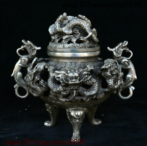 """6"""" Chinese Dynasty Palace Silver Dragon Pixiu Beast Incense Burner Censer Statue"""