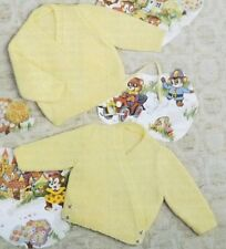 """Baby Knitting Pattern Child DK Cardigan Button Or Ties 16-24"""" 41-61 cms R2878"""