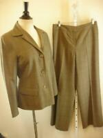 Womens 8 Lafayette 148 New York Brown Tan Plaid 100% Wool 2-Pc Pants Suit Blazer