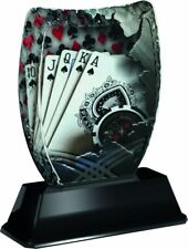 POKER CARD GAME TROPHY ICEBERG ACRYLIC *FREE ENGRAVING* 160mm FREE POSTAGE