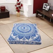 Blue White Mandala Square Pillowcase Pillow Traditional Cushion Seating Cover