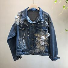 Womens Beaded Pink 3D Flower Embroidered Hole Denim Short Jacket Jeans Coat HOT