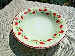 "Crate & Barrel JAM Ceramica Red OLIVE 10 3/8""  Pasta Serving Bowl"