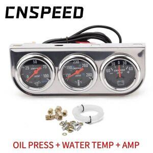 """2"""" 52mm Car Chorme Triple Gauge Set Water Temp Oil Pressure AMP Meter 3in1 Kit"""