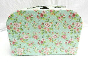 Shabby Chic Country Rose Floral Suitcase Style Storage Box -  L - NEW