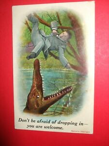 1914 Vintage BAMFORTH COMIC Crocodile Alligator JAWS DON'T BE AFRAID DROPPING IN