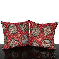 Pair Pillows Santa Claus Snowflakes of snow Red Zipper Sofa House Furnishing