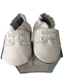 NEW ROBEEZ BABY BOYS SPECIAL OCCASION SHOES SZ 0-6 MOS WHITE LEATHER