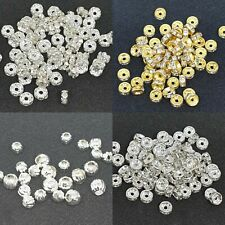 100 Clear Rhinestone Rondelle 5/6/8mm Spacer Beads Silver for Jewelry Making