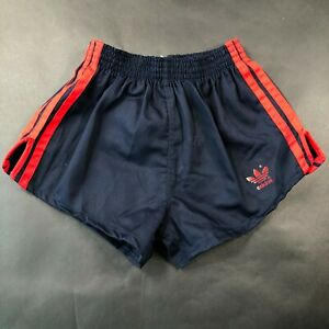 NEW Vintage Adidas Running Shorts Youth Boys L 28-30 Thick Blue Red Stripes