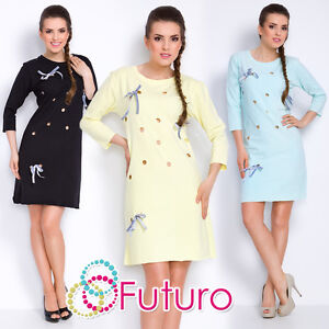 Womens Mini Dress With Bows Long Sleeve Crew Neck Bodycon Size 8-12 FT2783