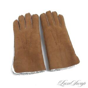 NWT $225 Polo Ralph Lauren Ranch Tan Sheepskin Suede Shearling Fur Line Gloves S