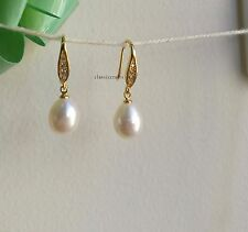18K yellow GP 925 silver  9-10mm freshwater pearl drop crystal dangle earrings