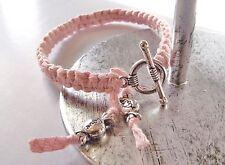 Bracelet noué Rose * fermoir Rond * Enfant * perles bonbons * Cadeau Petit Prix